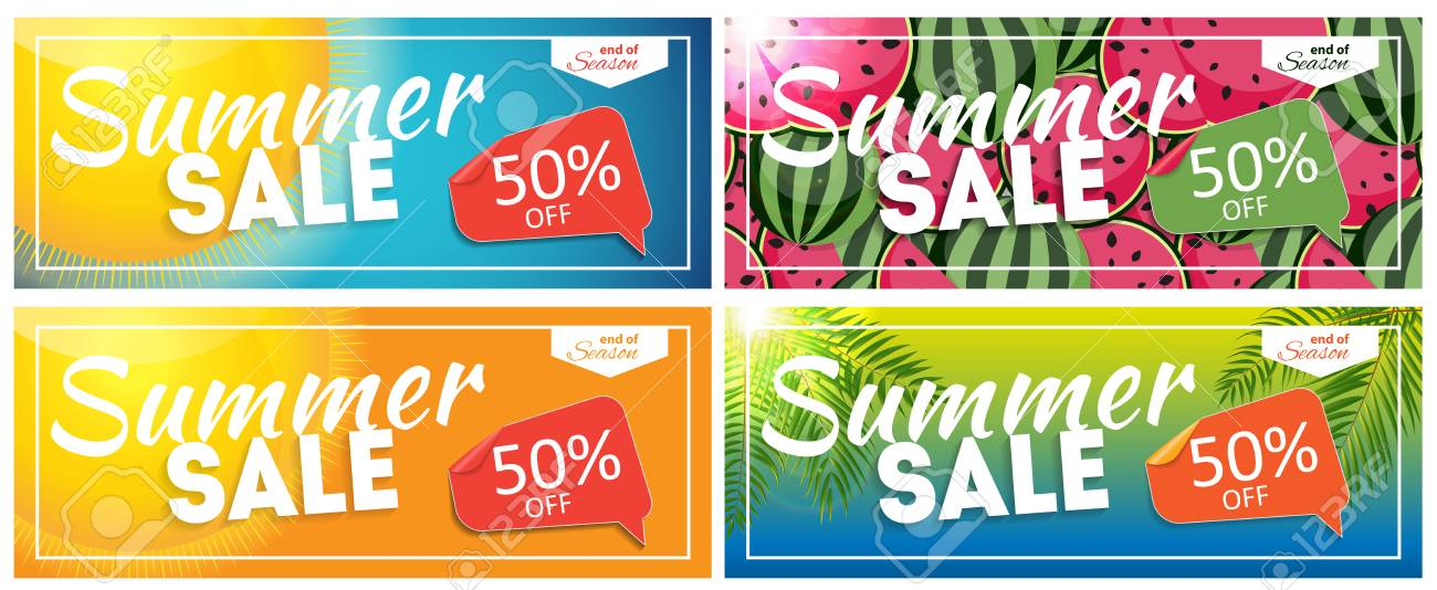 Summer Sale End Of Season Banner. Business Discount Card Template ...