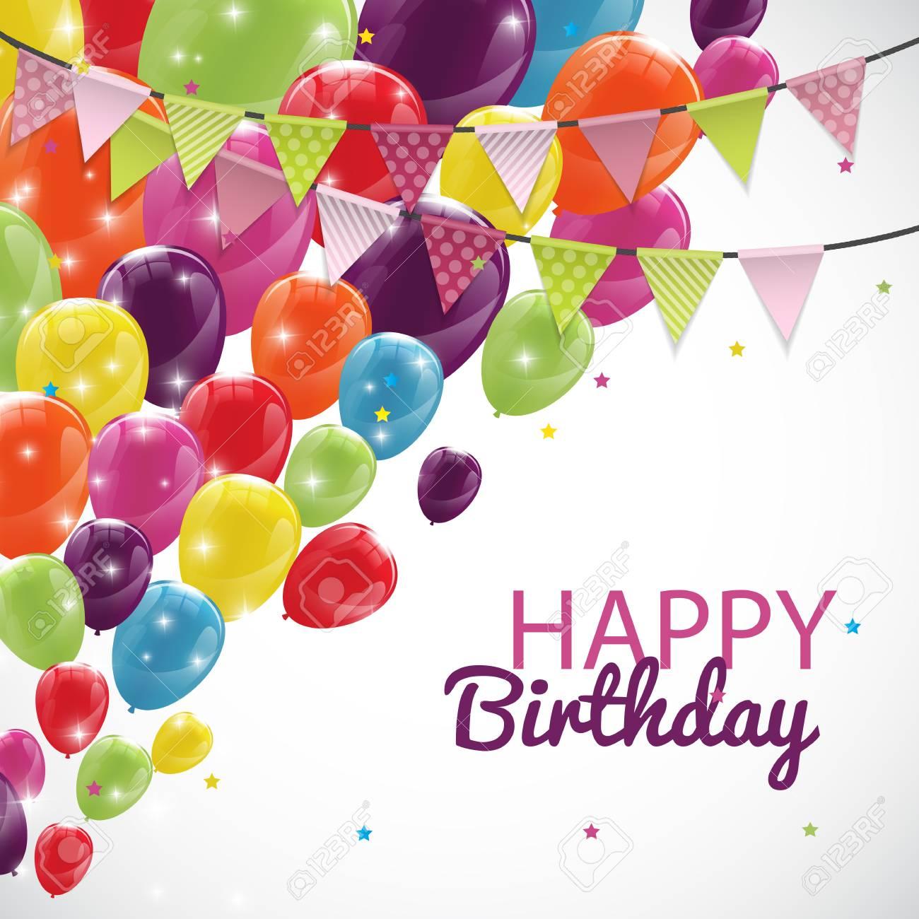 modèle carte d anniversaire Joyeux Modèle Carte D'anniversaire Avec Des Ballons Et Drapeaux