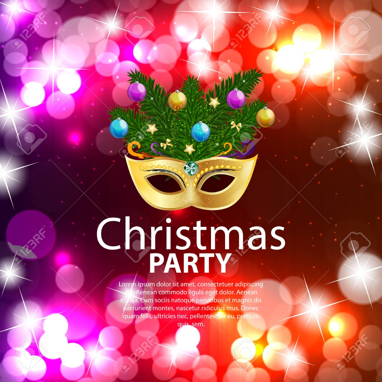 60efe6d73f1b Abstract Beauty Merry Christmas and New Year Party Background with  Masquerade Carnival Mask. Stock Vector