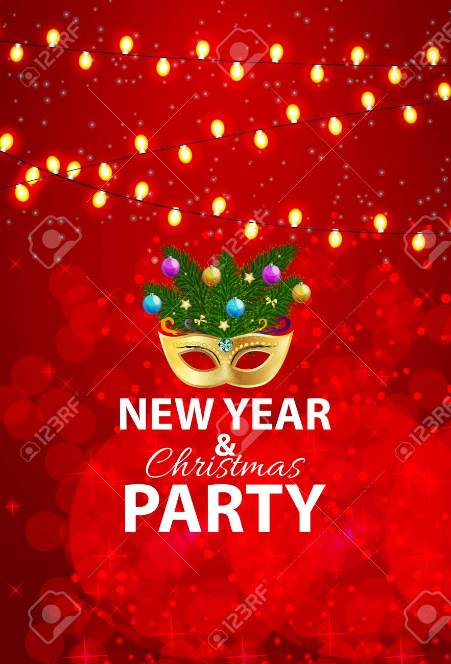 abstract beauty merry christmas and new year party background with masquerade carnival mask stock vector