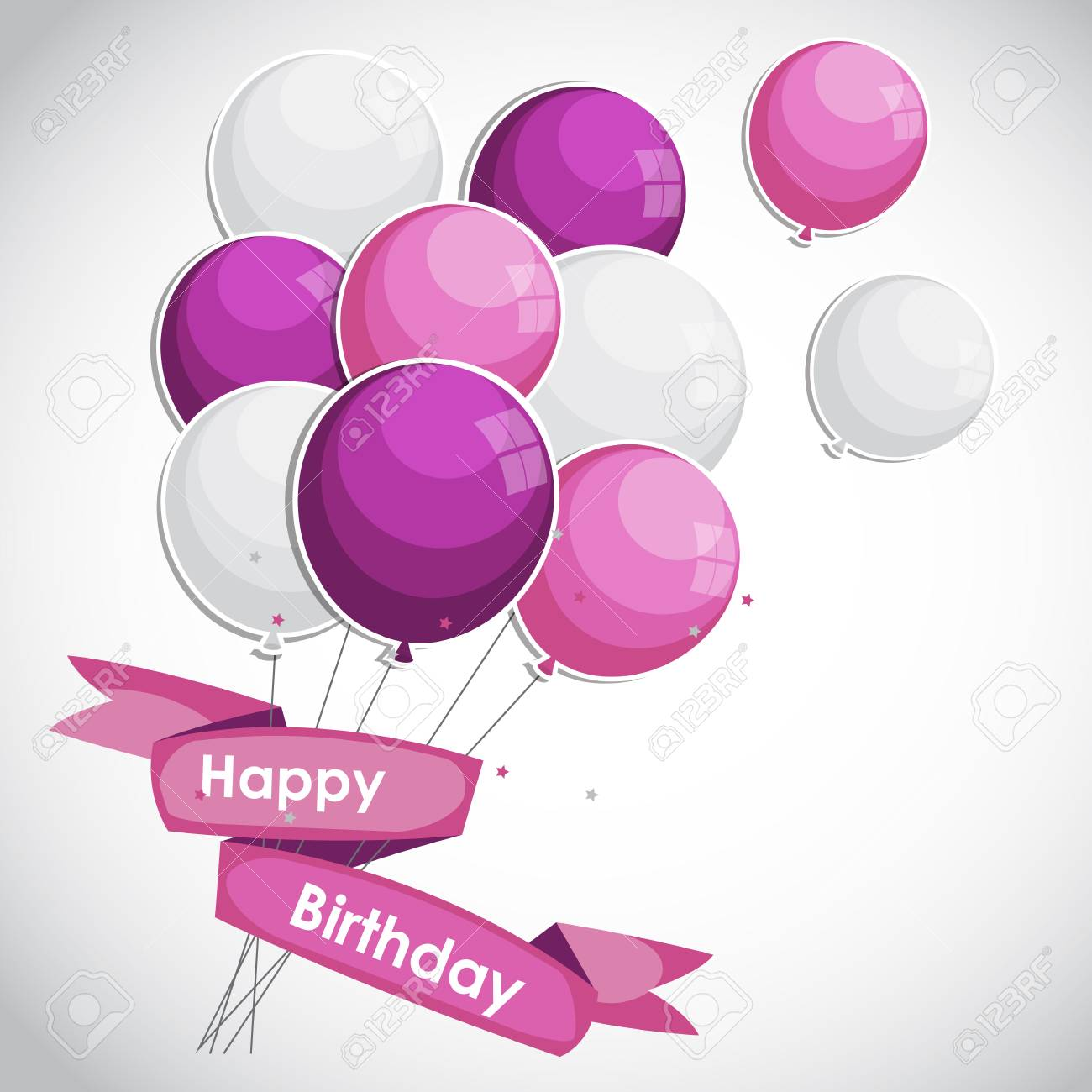 Color Glossy Happy Birthday Balloons Banner Background Stock Vector