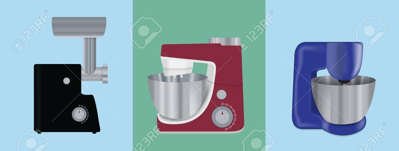 Set Of Kitchen Appliances. Electric Mixer, Meat Mincer, Food ...
