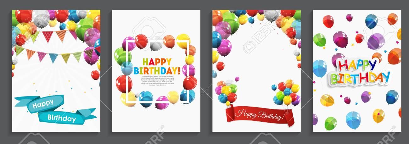 Joyeux Anniversaire Voeux De Vacances Et Modèle De Carte Dinvitation Avec Des Ballons Et Des Drapeaux