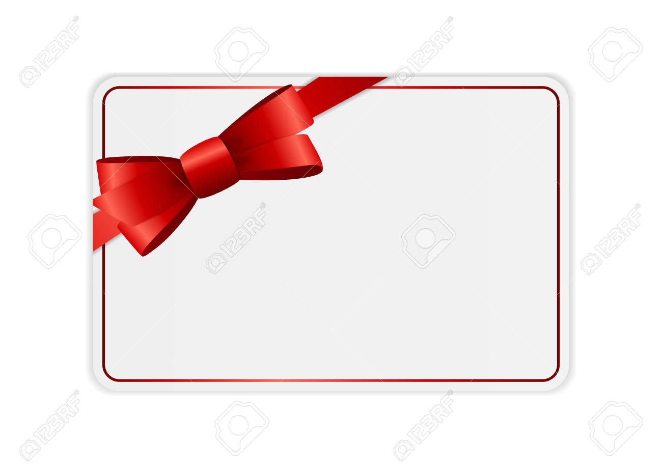 Blank Gift Card Template With Bow And Ribbon. Vector Illustration ...