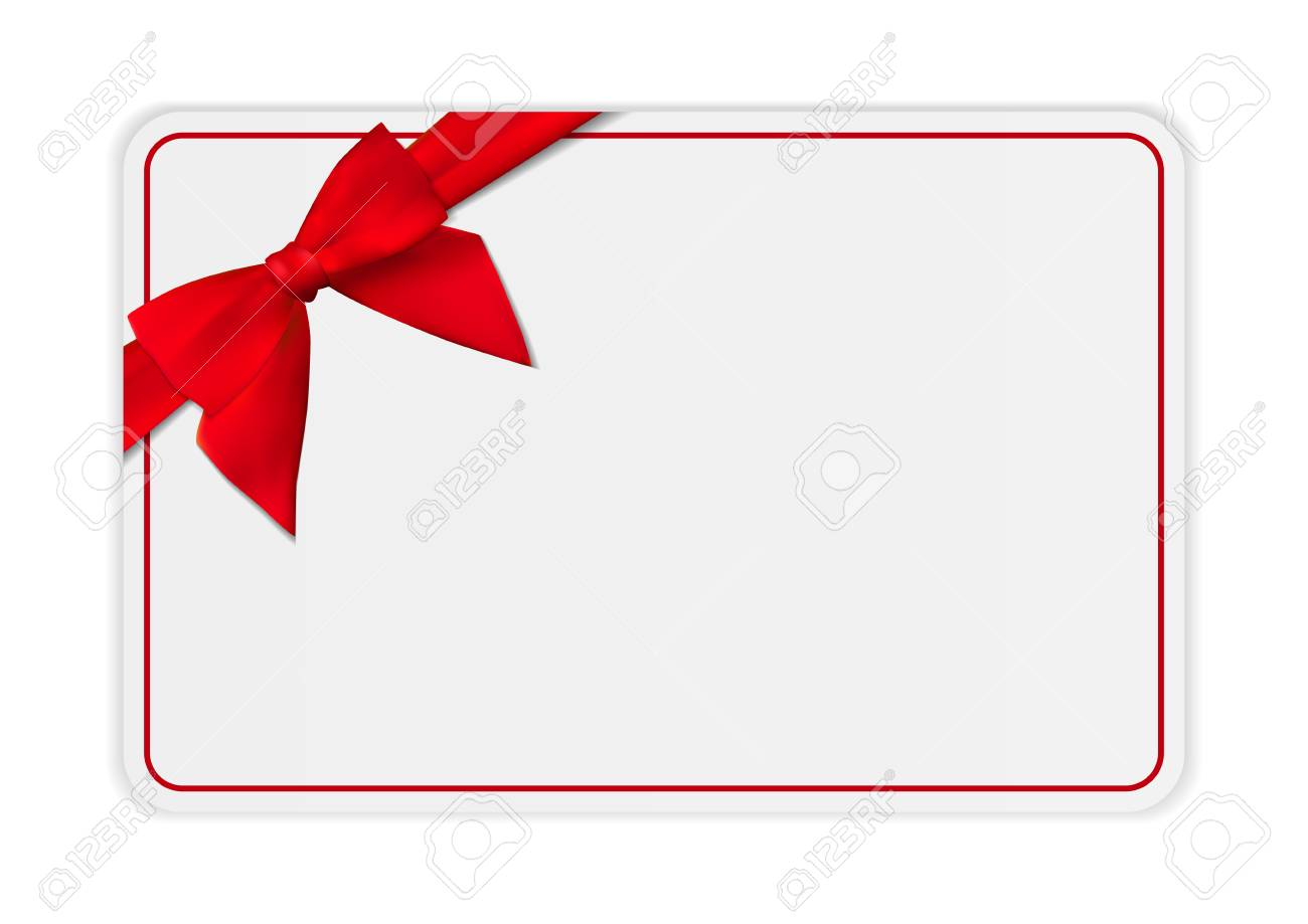 blank gift card template with bow and ribbon vector illustration