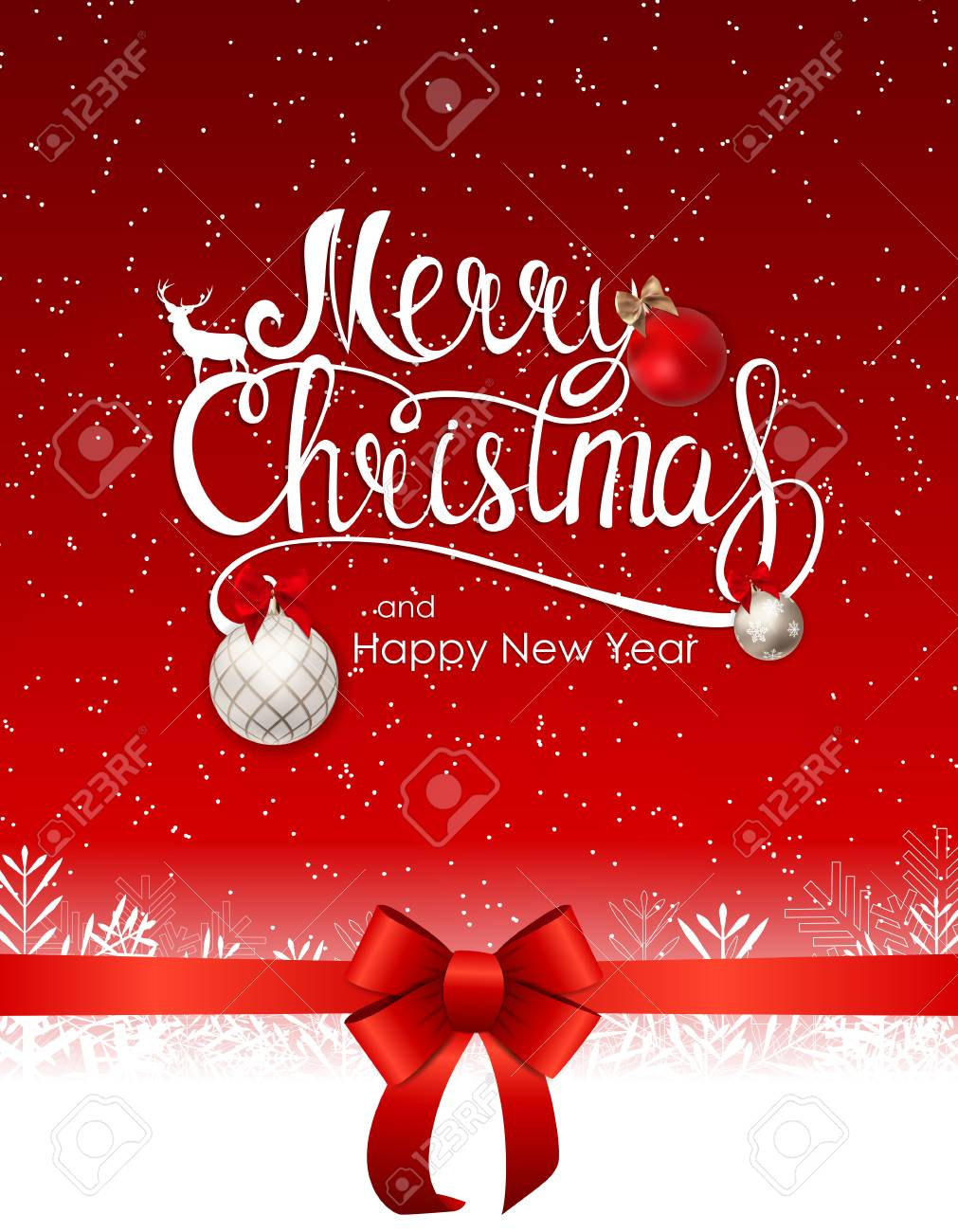 merry christmas and new year background with red ribbon vector illustration stock vector 95709455