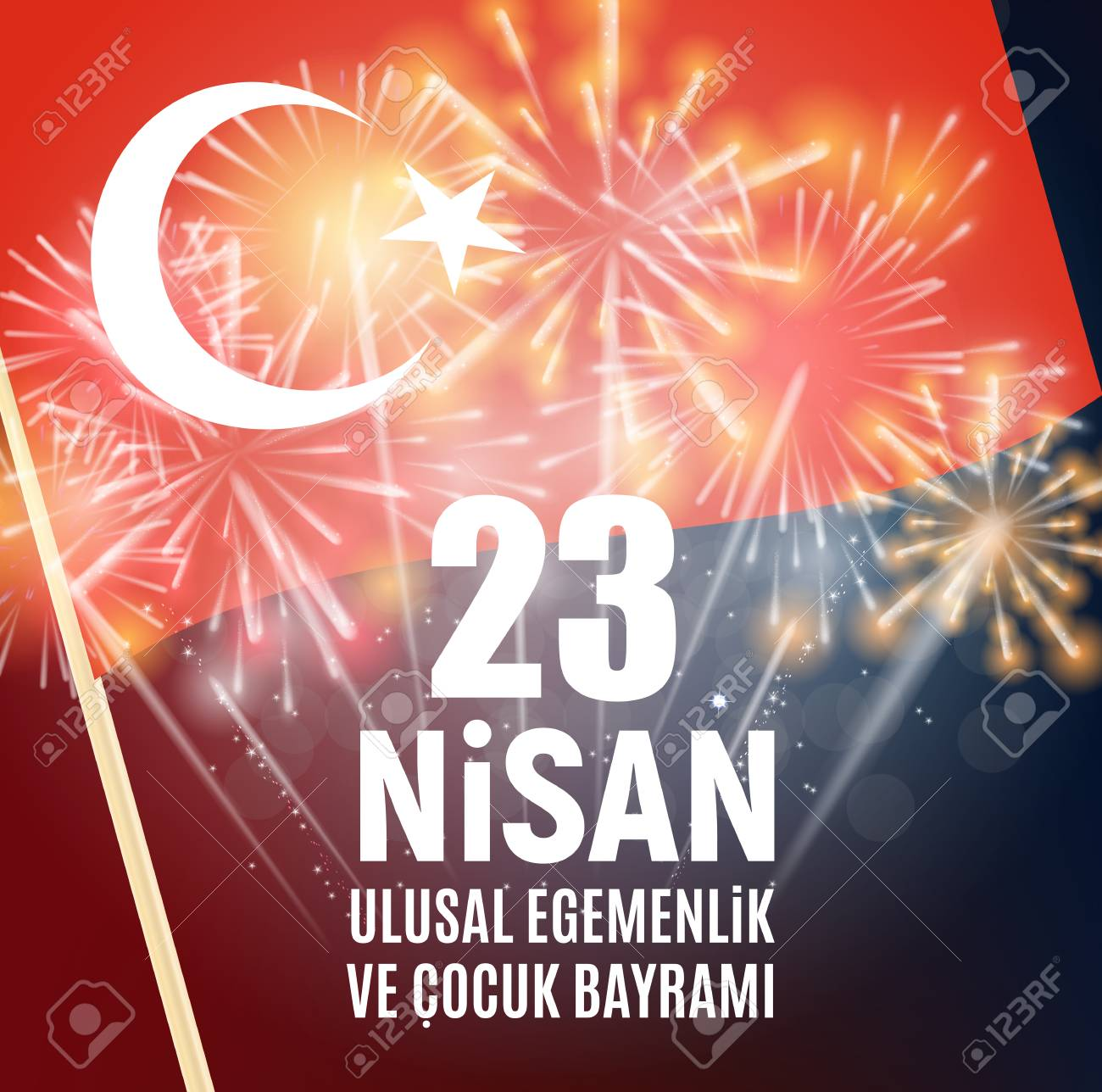 23 april childrens day poster template vector illustration turkish speak 23 nisan cumhuriyet bayrami