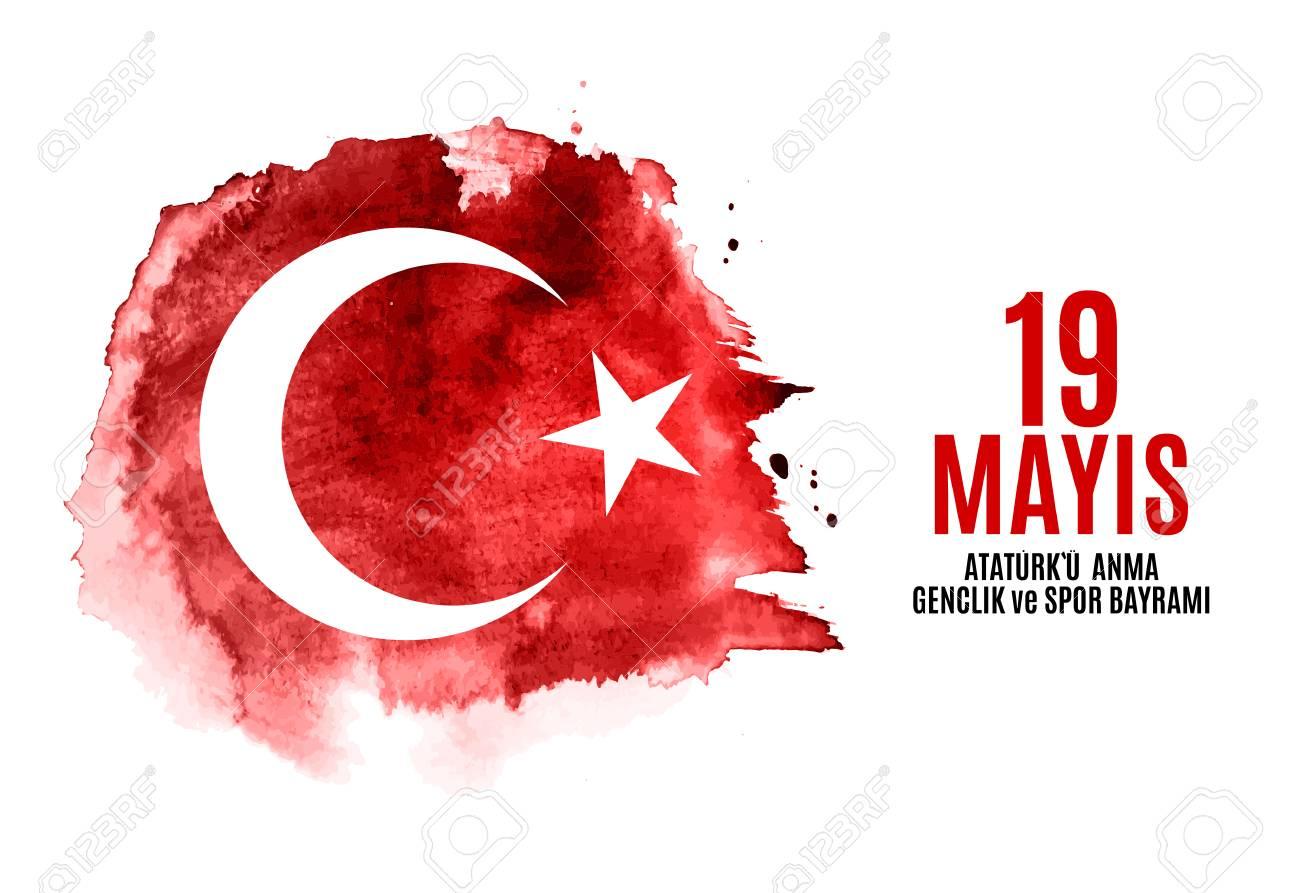 19th may commemoration of Ataturk, youth and sports day (Turkish Speak: 19 mayis Ataturk'u anma, genclik ve spor bayrami). Turkish holiday greeting card. Vector Illustration EPS10 - 99670978