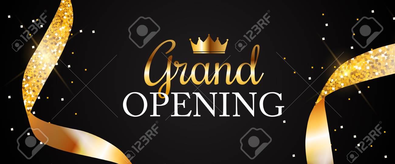 Grand Opening Card with Golden Ribbon Background. Vector Illustration - 111684558