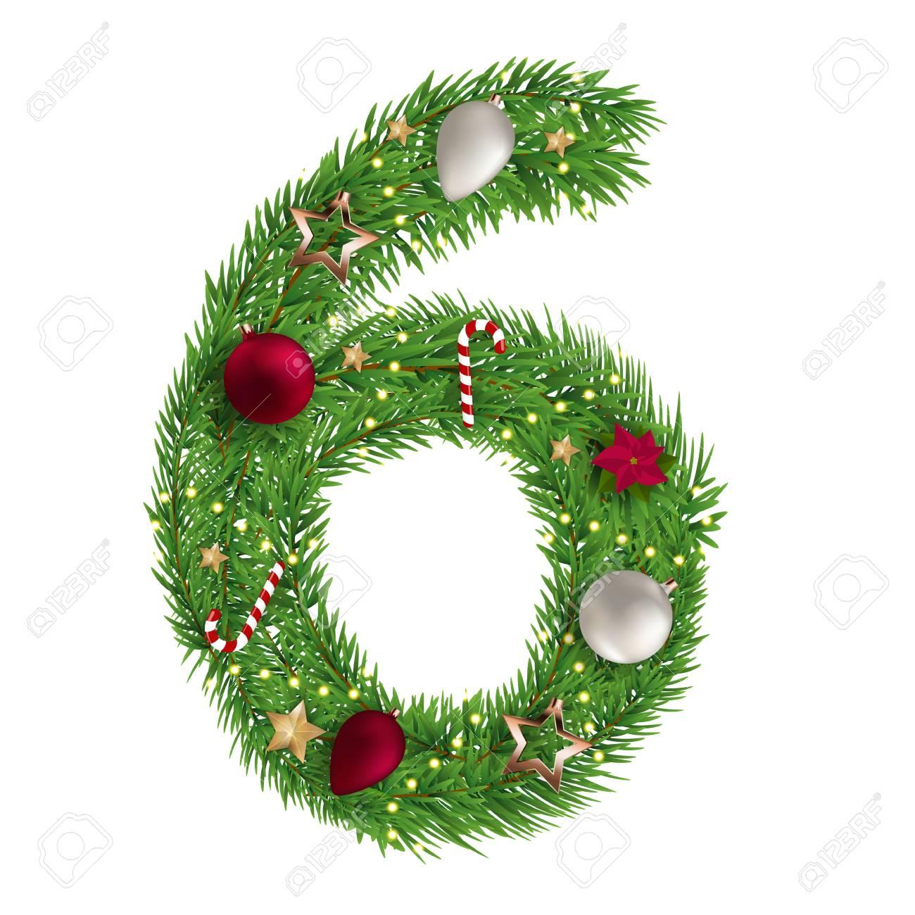 Christmas Alphabet.Christmas Alphabet Number 6 Vector Illustration Eps10