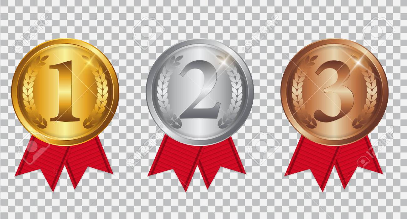Champion Gold, Silver and Bronze Medal with Red Ribbon. Icon Sign of First, Second and Third Place Isolated on Transparent Background. Vector Illustration - 129050611