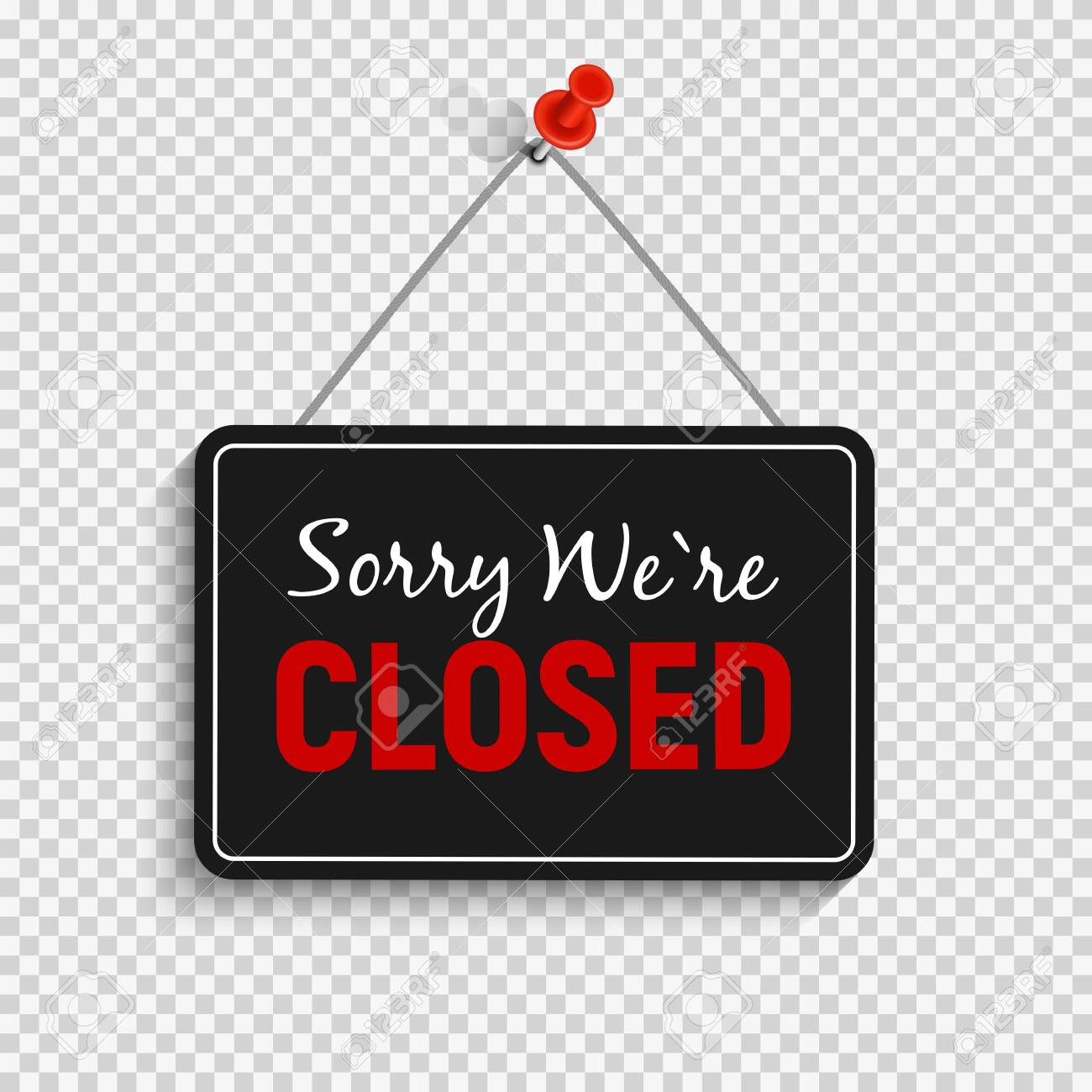 Sorry We are Closed Sign Vector Illustration - 145780337