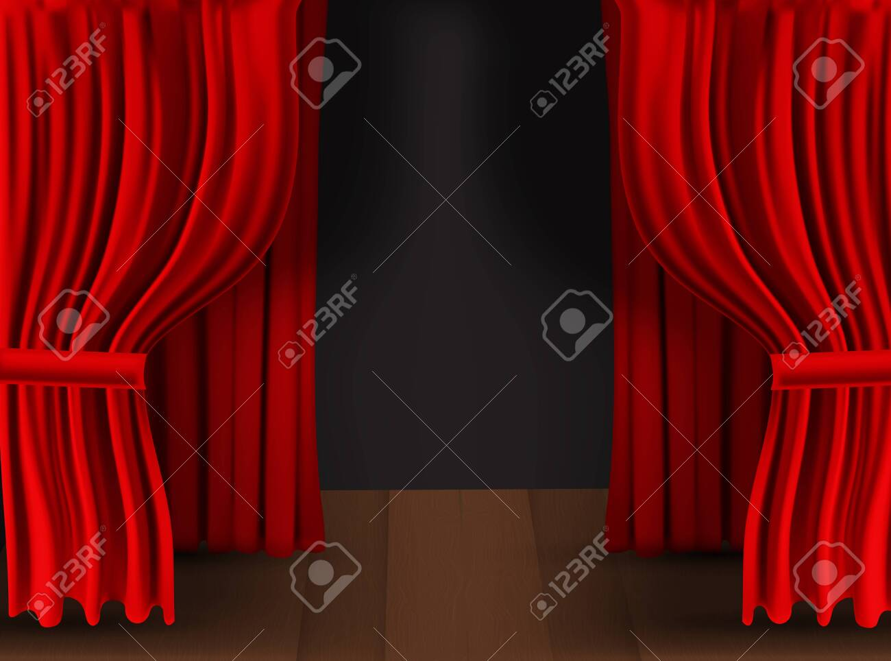 Realistic colorful red velvet curtain folded on a transparent background. Option curtain at home in the cinema. Vector Illustration. - 148415094