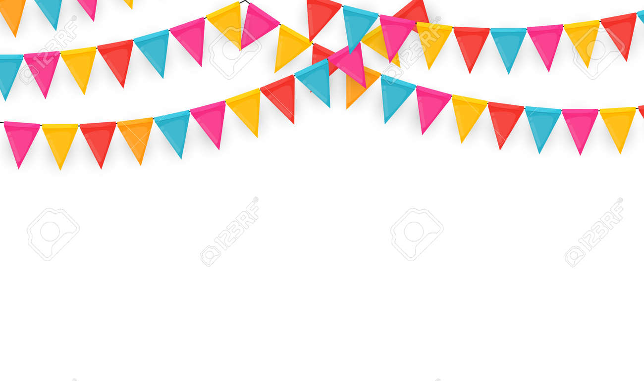 Banner with garland of flags and ribbons. Holiday Party background for birthday party, carnava. Vector Illustration - 158833273