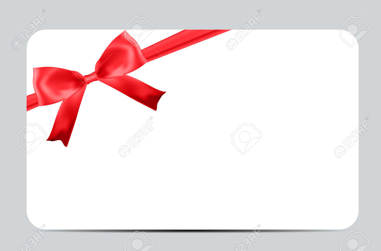 Blank Gift Card Template with Red Bow and Ribbon. Vector Illustration for Your Business - 158833127