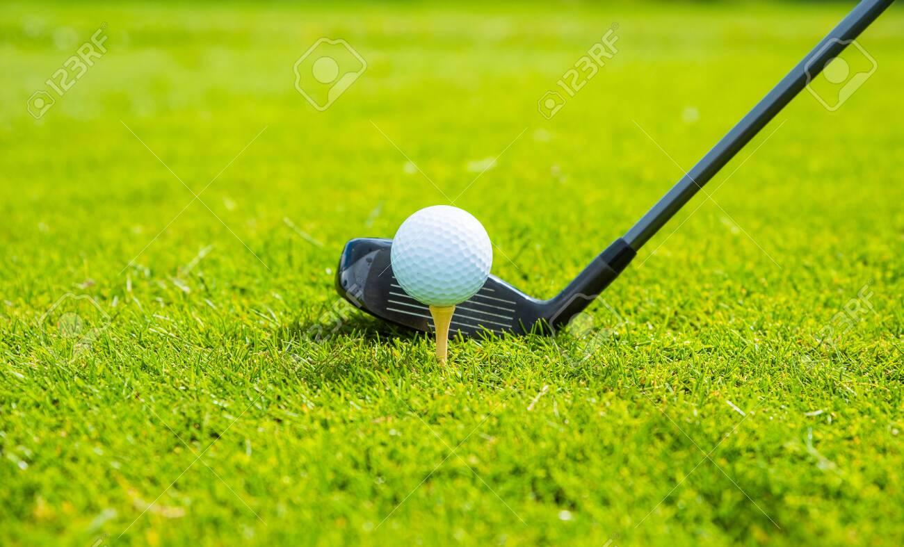 golf ball ang club on golf green grass natural fairway - 147633414