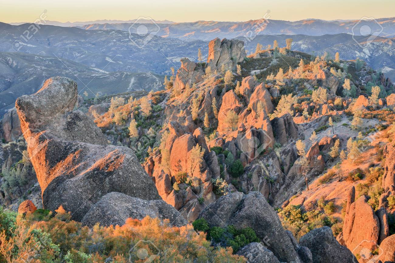 Sunset Over High Peaks Of Pinnacles National Park California