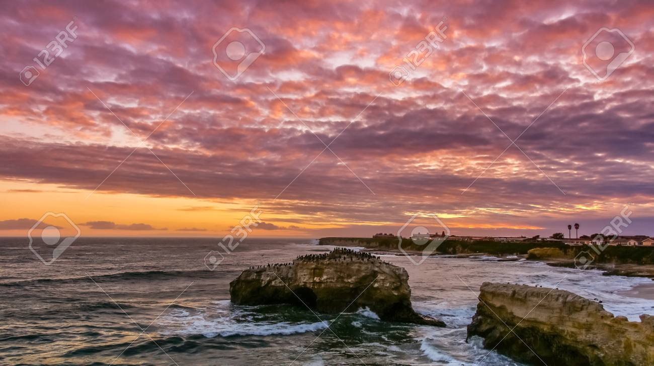 Stunning Sunset Over Natural Bridges State Beach Santa Cruz