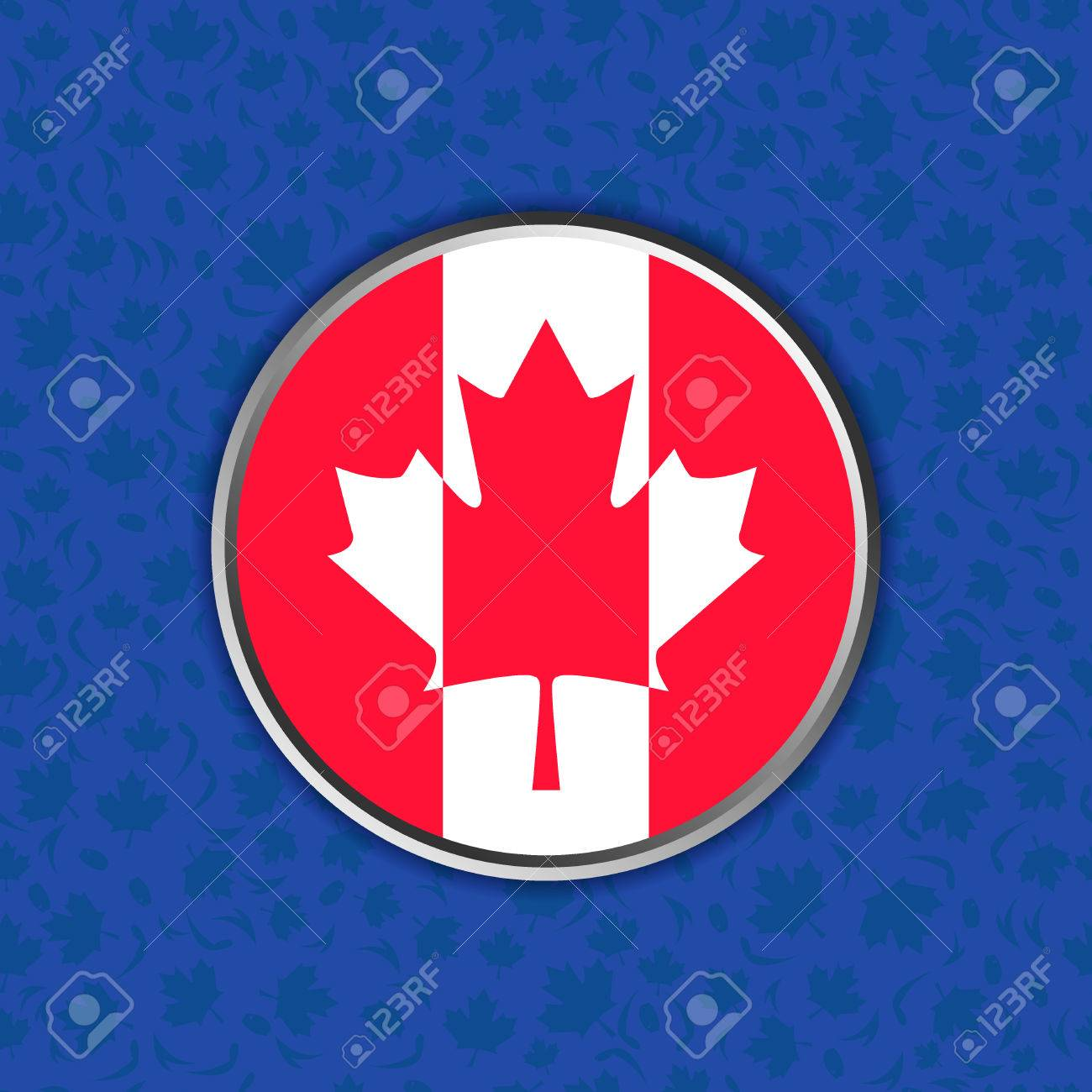 Flag Of Canada In Web Button Isolated On World Cup Of Ice Hockey