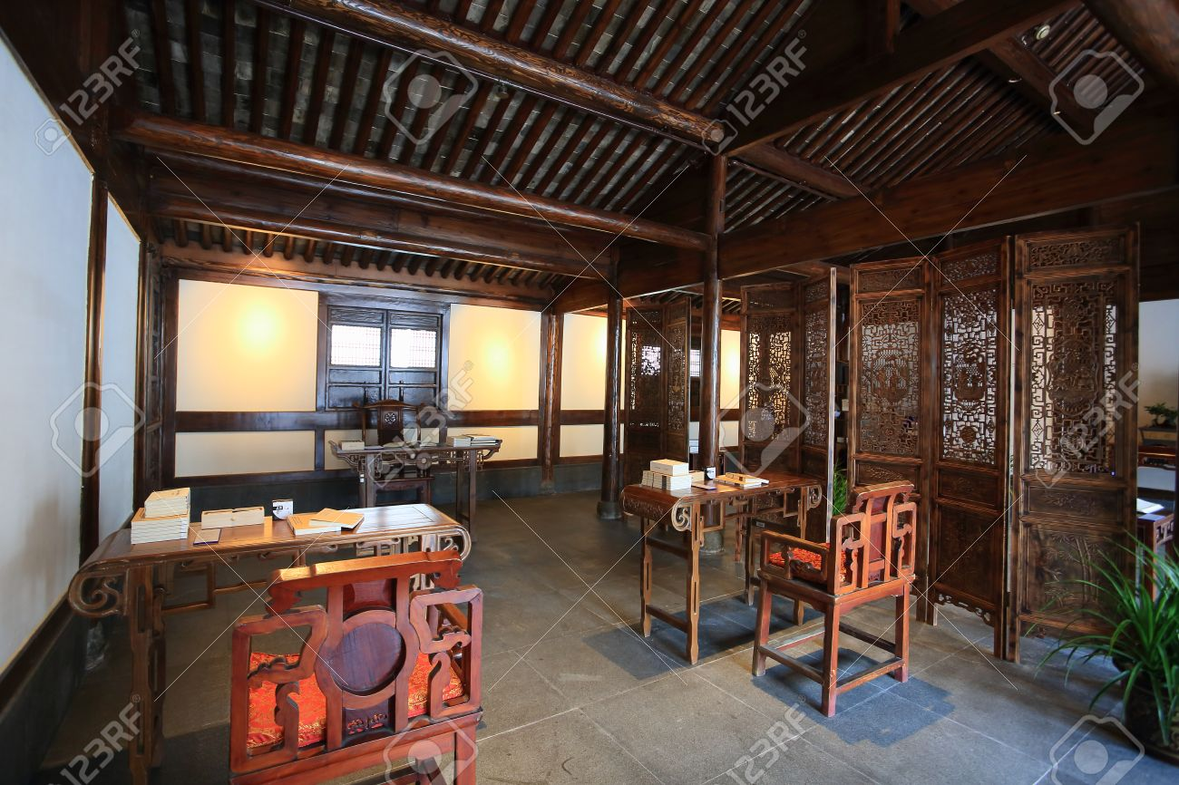 interior of chinese traditional house stock photo, picture and