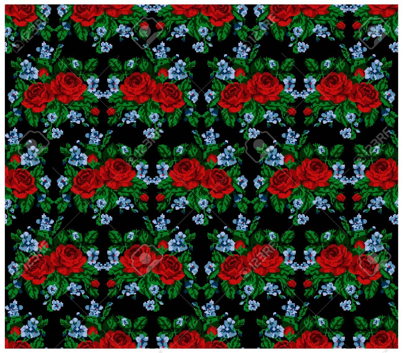 Sans Couture Modèle Couleur Bouquet De Fleurs Roses Et Bleuets Sur Le Fond Noir En Utilisant Des éléments De Broderie Ukrainiens Traditionnels