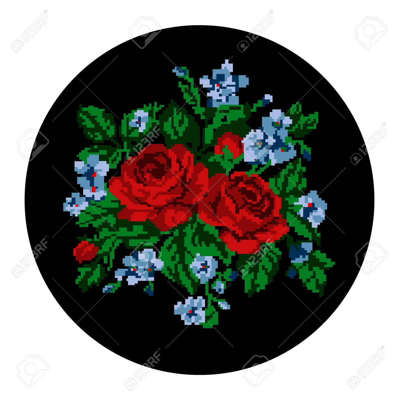 Color Bouquet Of Flowers (roses And Cornflowers)on The Black ...