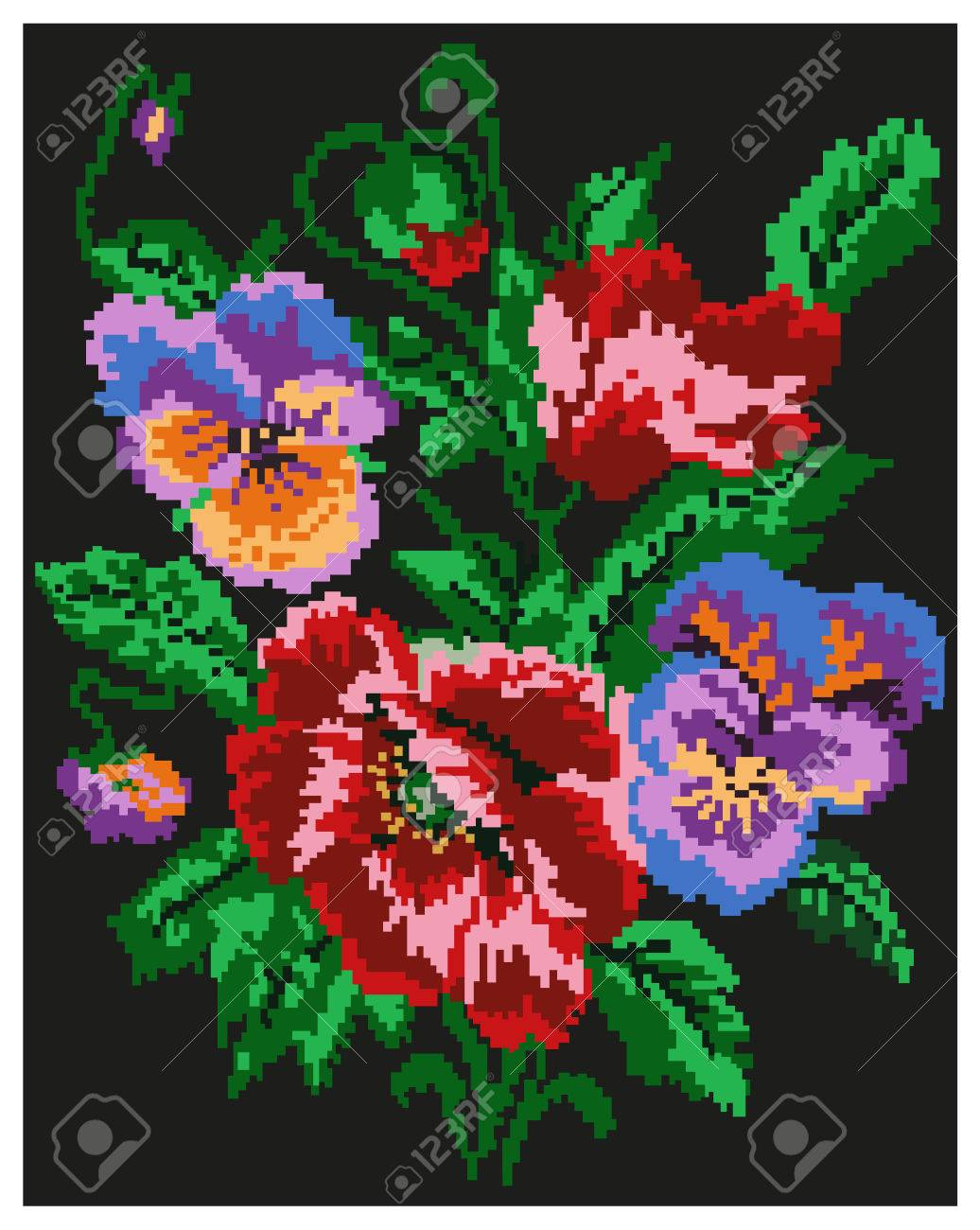 Color Bouquet Of Flowers (poppies And Pansies) On The Black ...