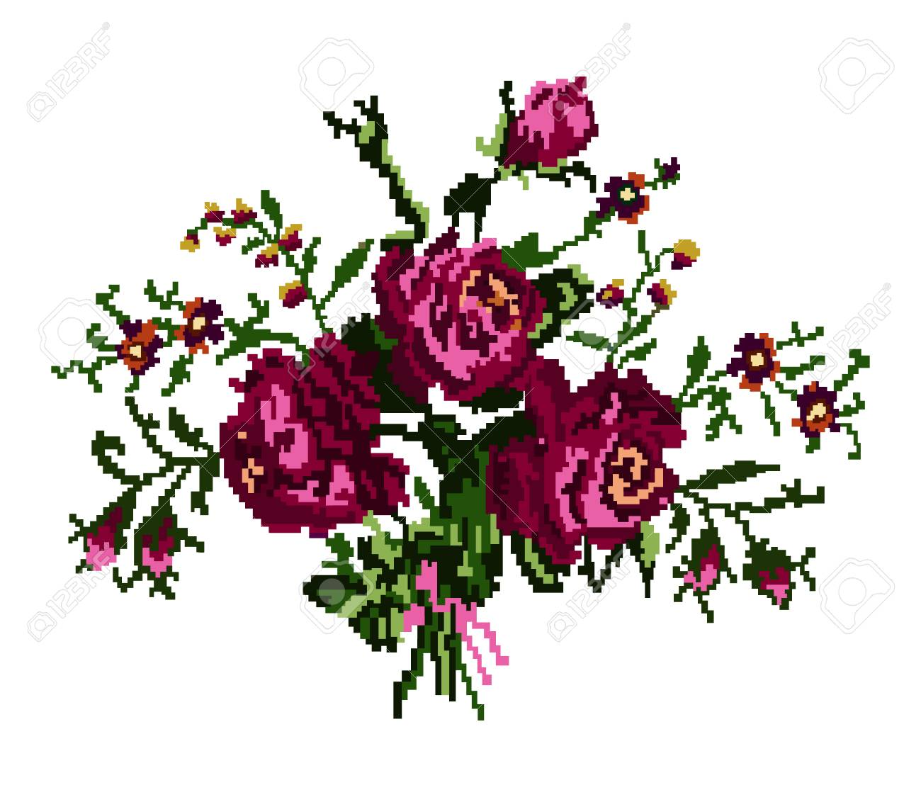 Color Bouquet Of Flowers Roses And Cornflowers In Violet And