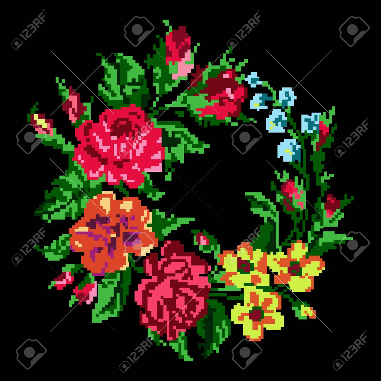 Wallpapers Or Textile. Color Circle Bouquet Of Flowers (roses ...