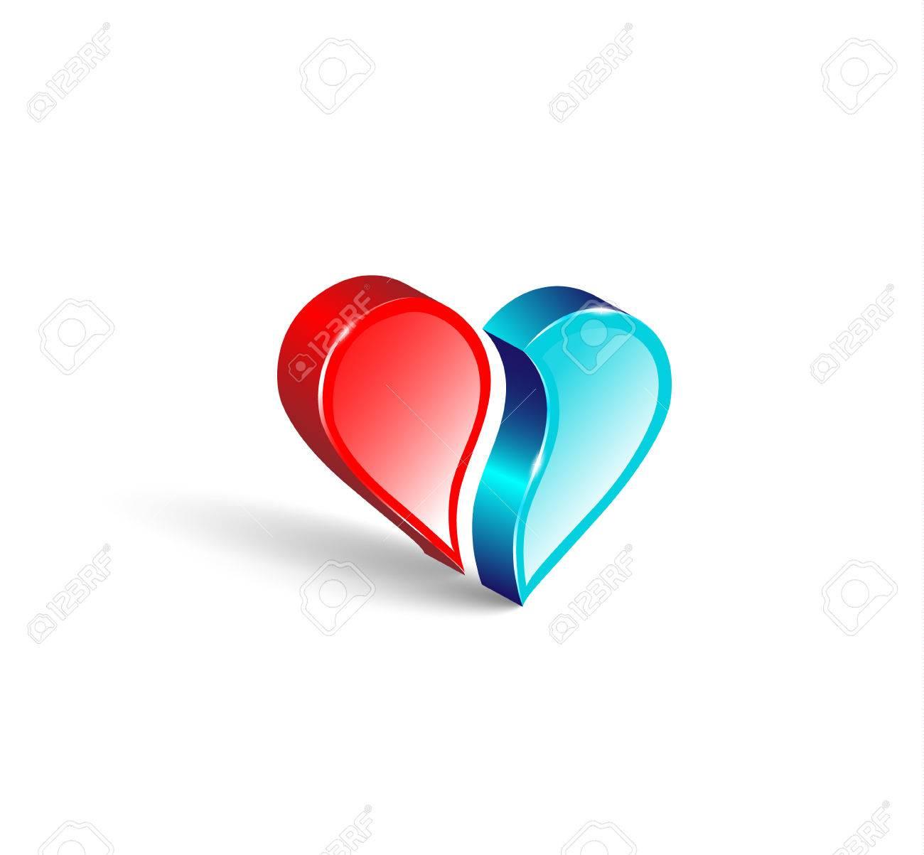 Logo 3d Emblem Two Comparing Parts Of Heart Colorful Design