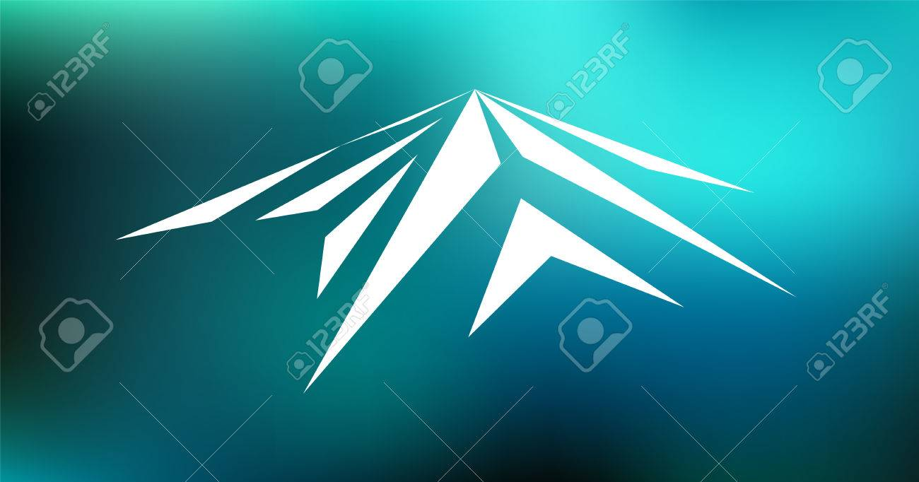 Logo Emblem Of Snow Mountain Peak Mont Blanc In Blurred Blue