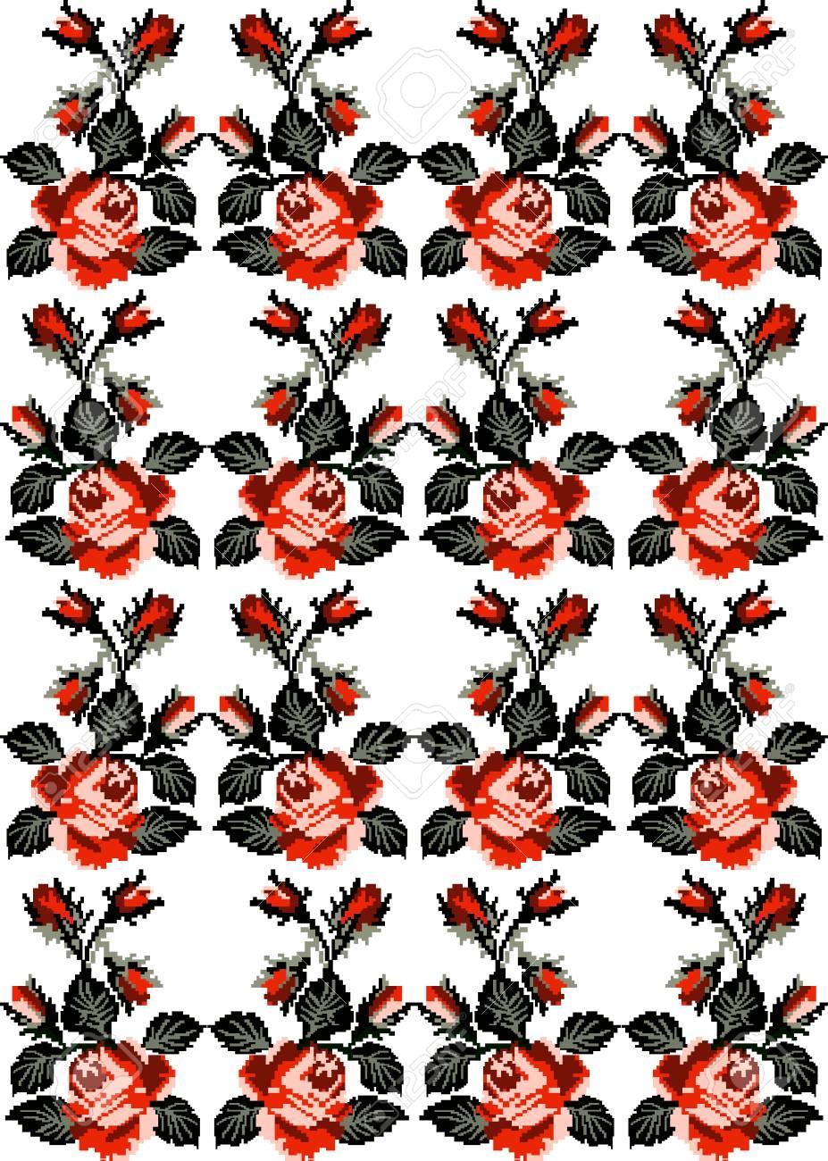 Image En Couleur De Fleurs Roses En Utilisant Des éléments De Broderie Ukrainiens Traditionnels Peut être Utilisé Comme Pixel Art Modèle Sans