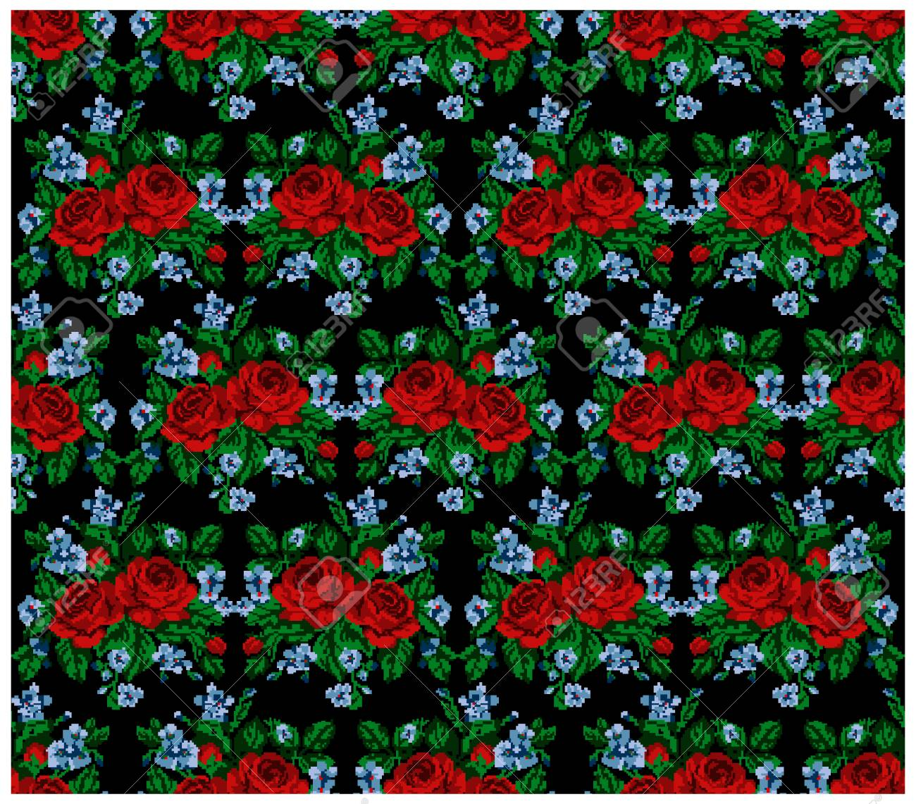 Seamless. Pattern. Color Bouquet Of Flowers (roses And Cornflowers ...