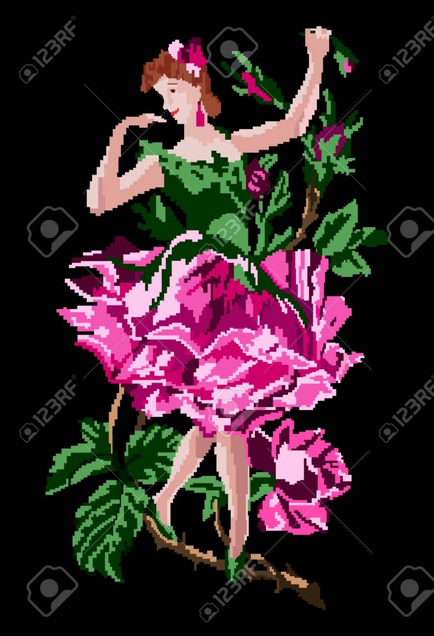 Image Décor Fille Comme Fleur Rose Dansant Dans Une Branche En Utilisant Des éléments De Broderie Ukrainiens Traditionnels Fait Main Fond Noir