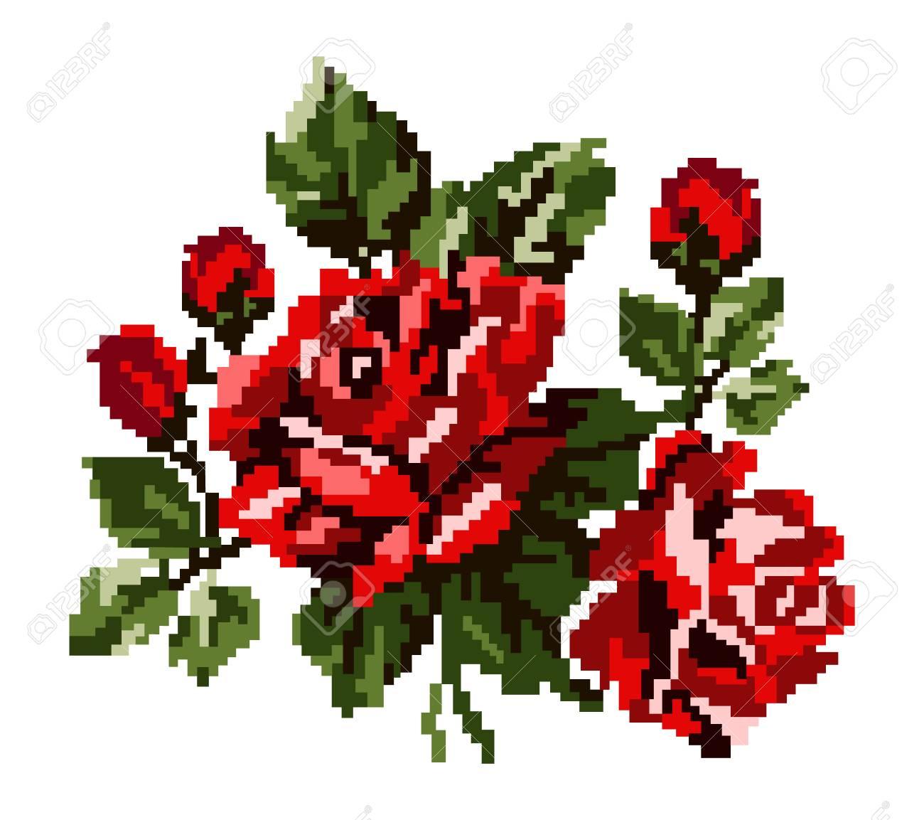 Couleur Bouquet De Fleurs Roses Dans Les Tons Rouges Et Verts En Utilisant Des éléments De Broderie Traditionnelle Ukrainienne Peut être Utilisé