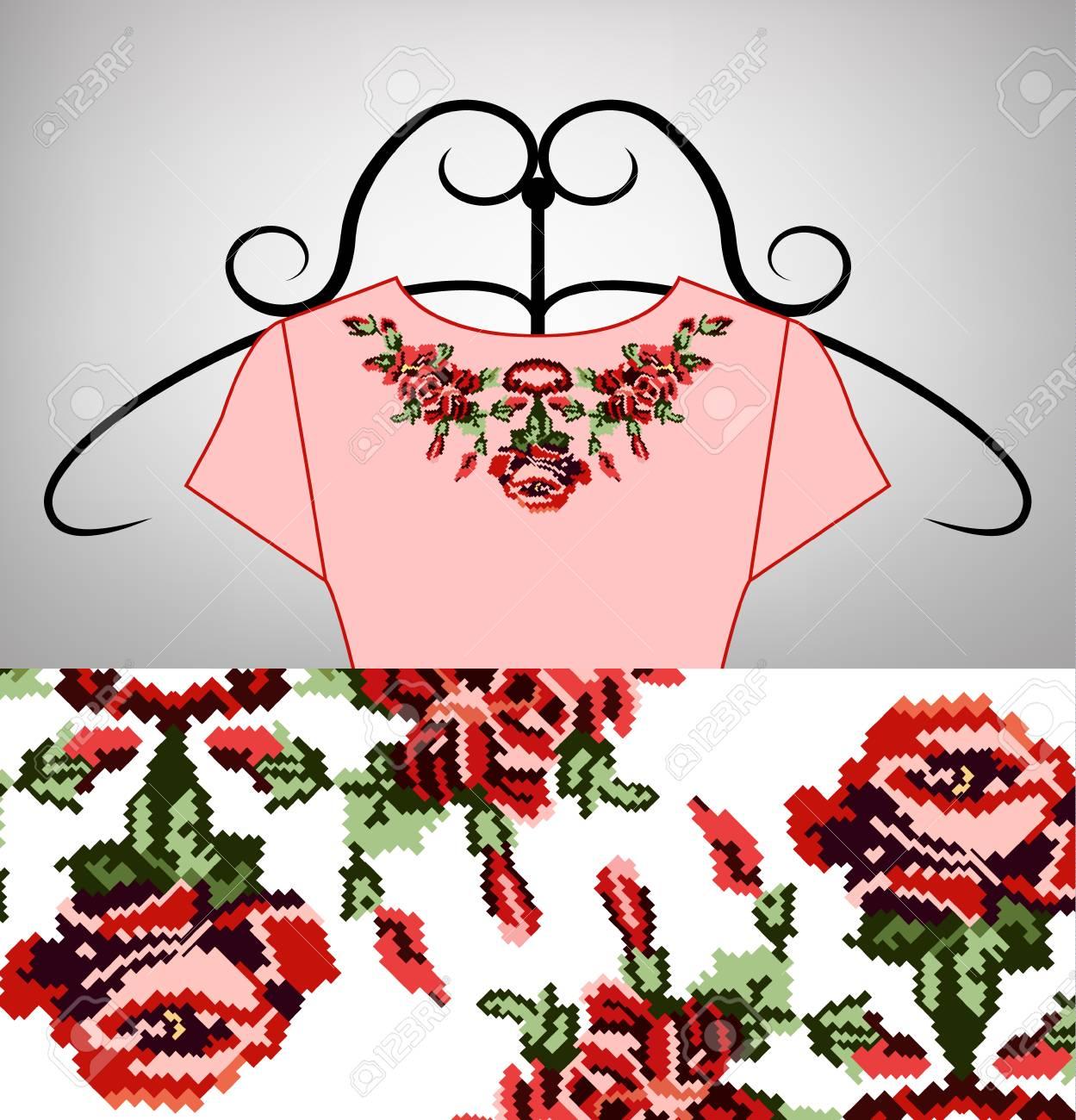 Robe Rose Féminine Sur Cintre Collier Bouquet De Fleurs De Fleurs Sauvages Lilia Roses Broderie Pixel Art Tons Rouges Roses Et Verts