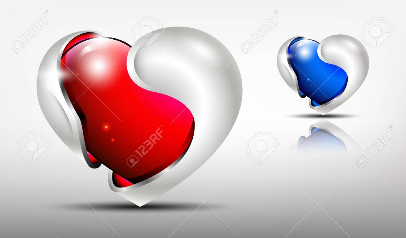 3d Logo Glänzende Herzen Mit Silbernen Rahmen Außen In Roten Und ...