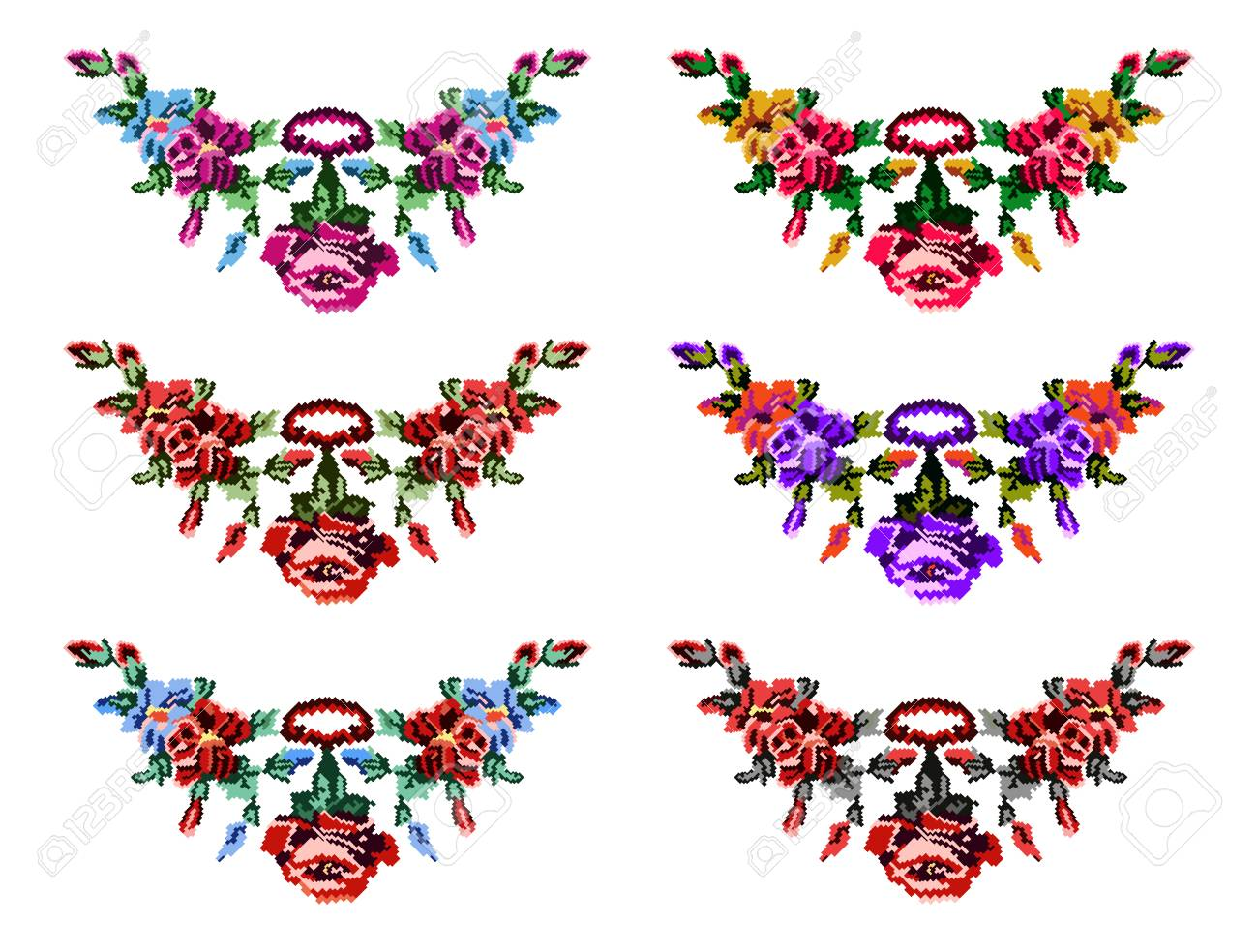 Set Of Colorful Female Collars Bouquet Of Wildflowers Lilia