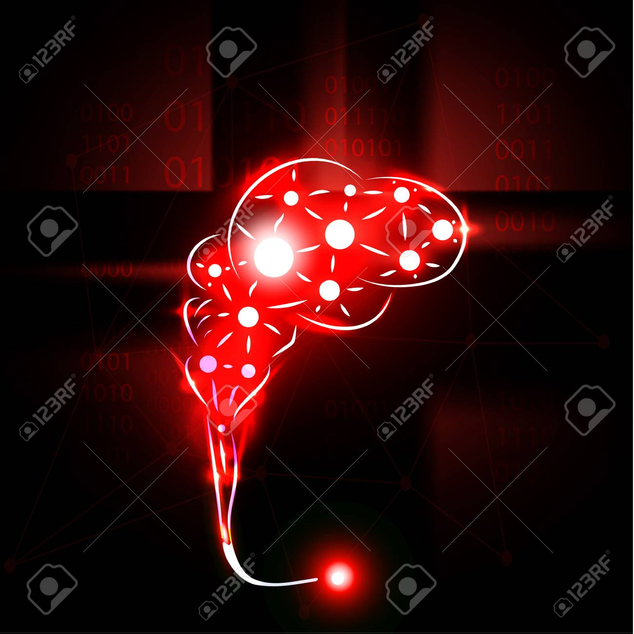 Abstract Human Brain With Red Flaming Point Neon Art