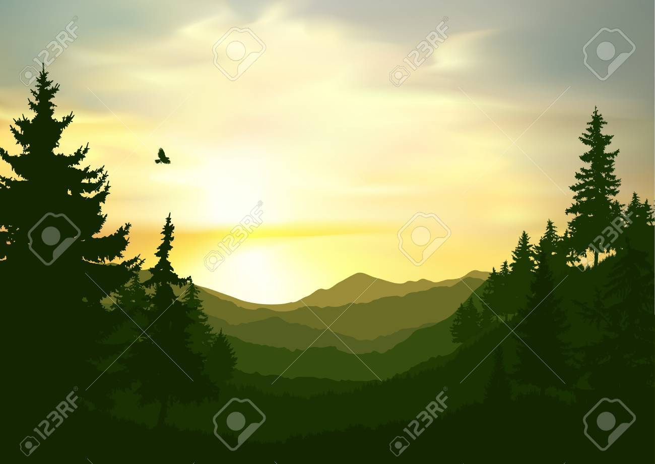 Nature background of mountains panorama. Colorful sunset in wild valley. Windy sky. - 88371107