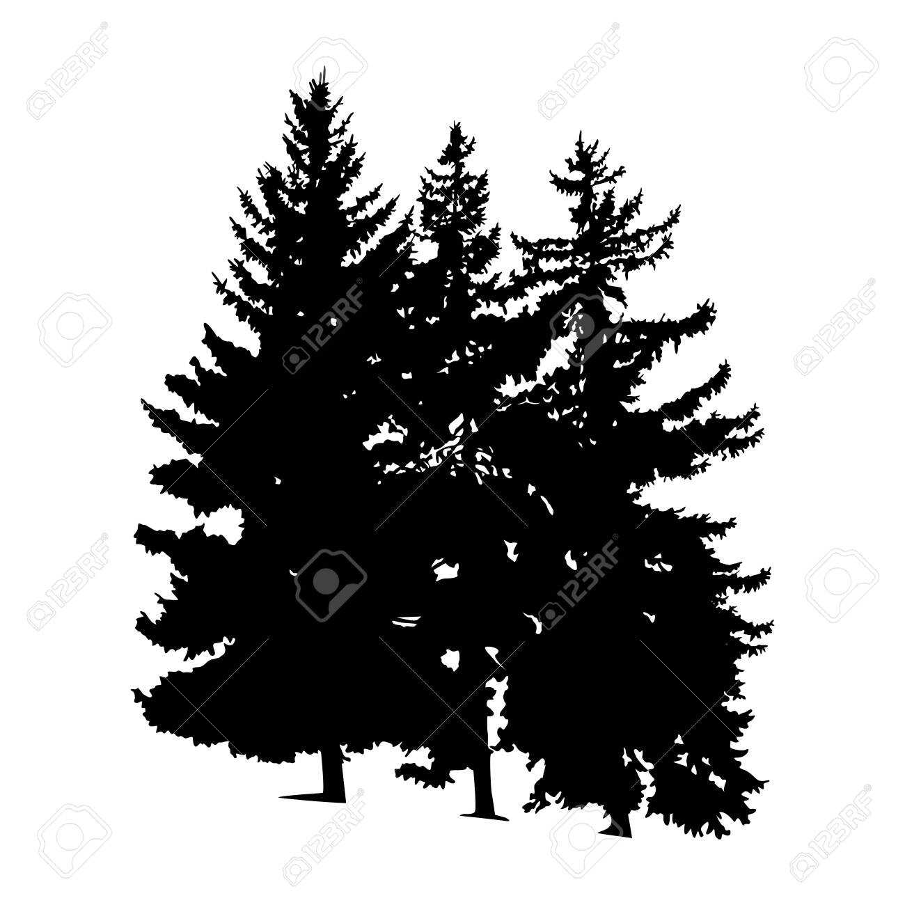 Silhouette of pine trees. Hand made. - 145209537