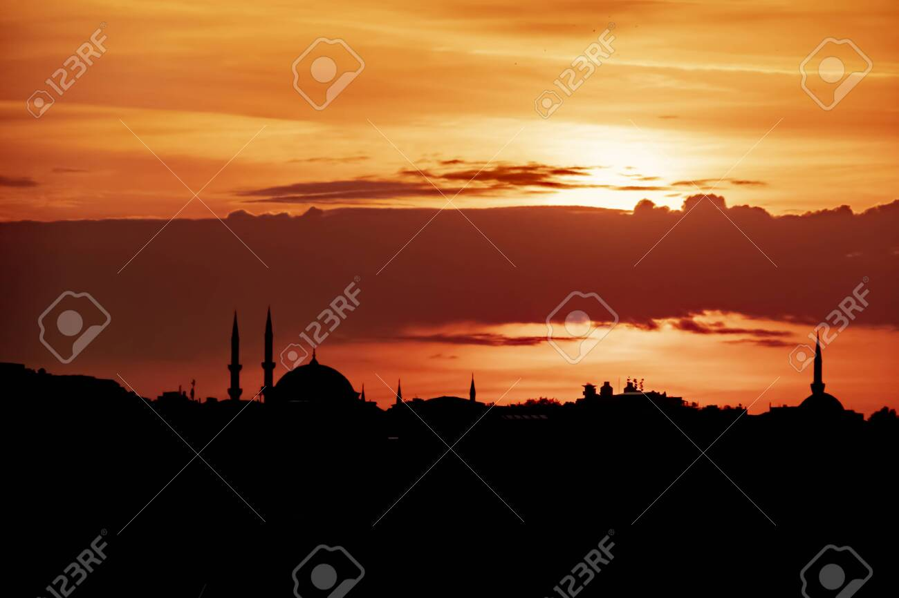 sunrise and city silhouette in istanbul - 123662341