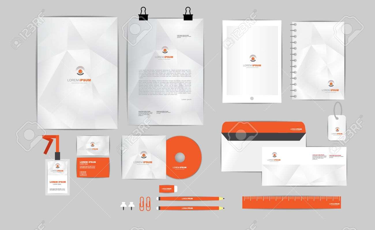 Orange And Grey Corporate Identity Template For Your Business ...