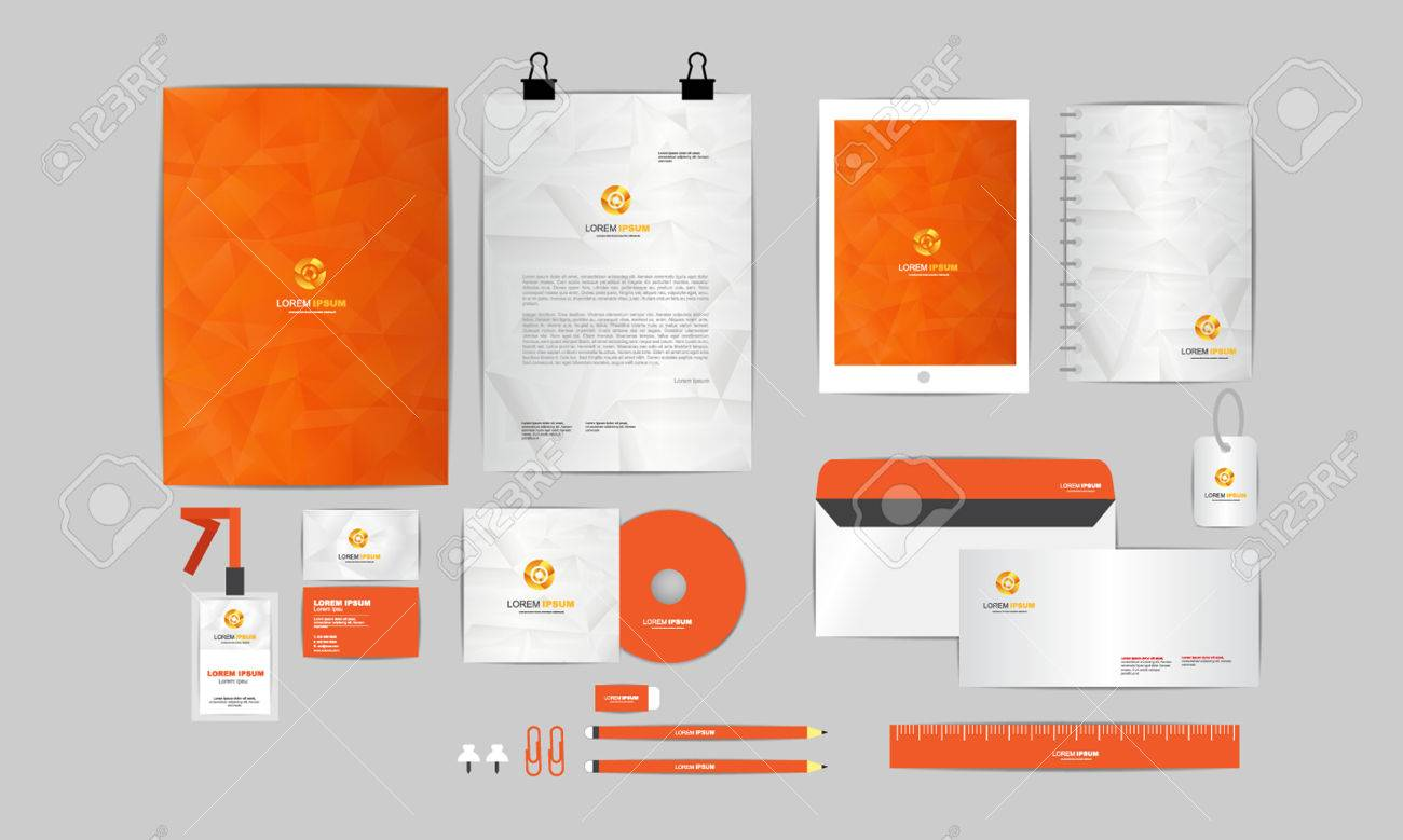 orange and grey corporate identity template for your business