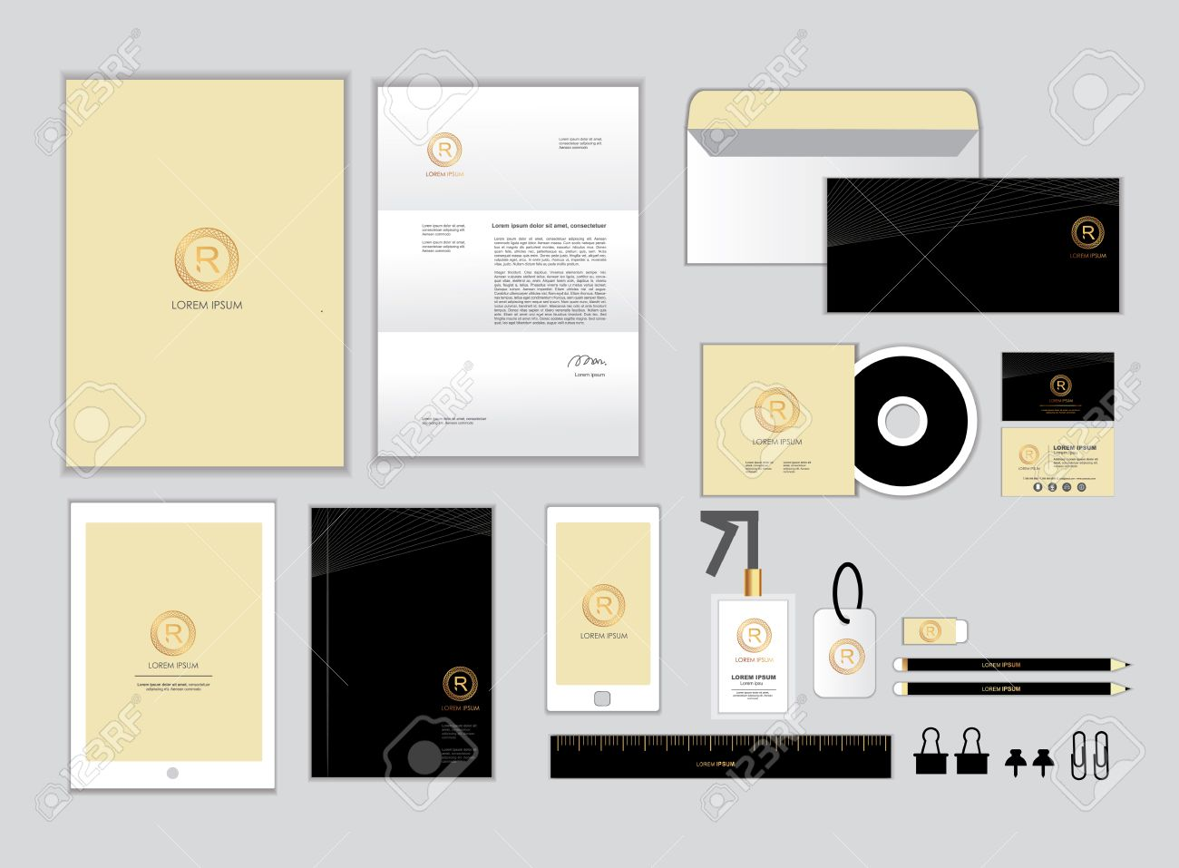 Gold And Black Corporate Identity Template For Your Business ...