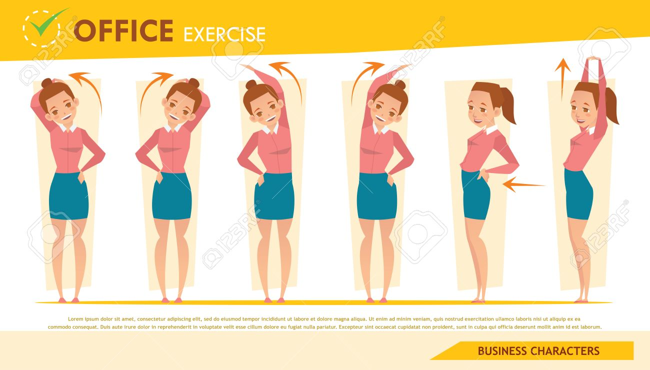 girl office syndrome infographic and stretching exercise set 2 - 63935394