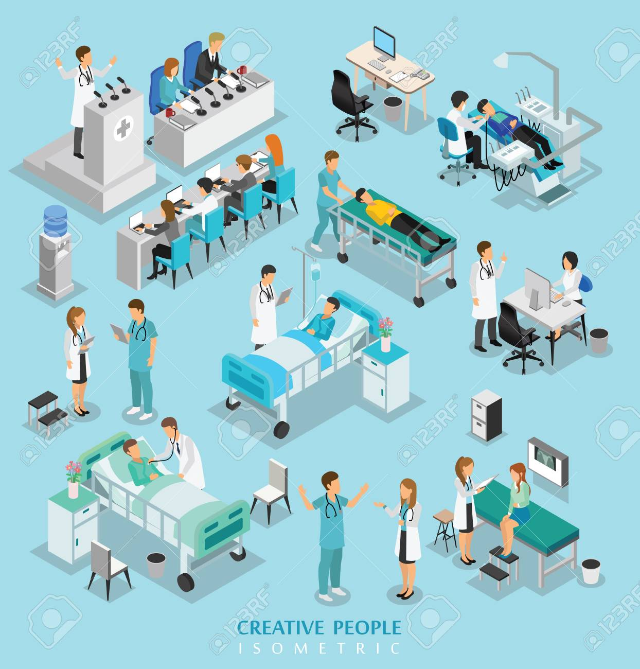 isometric people character on hospital include doctor, nurse, man and woman - 110214366