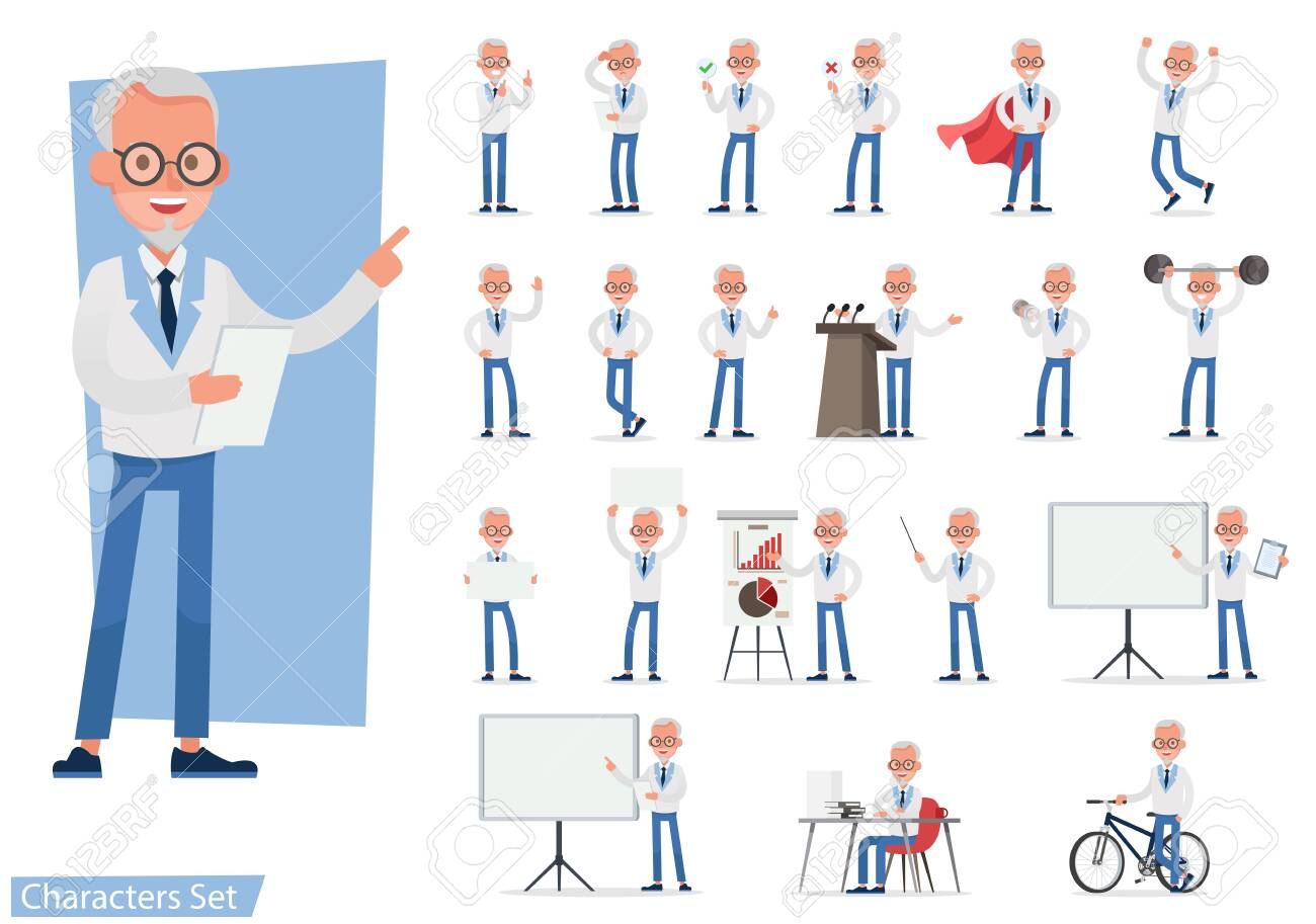 Set of Businessman character vector design doing different gestures. Presentation in various action with emotions, running, standing, walking and working. no8 - 153471555