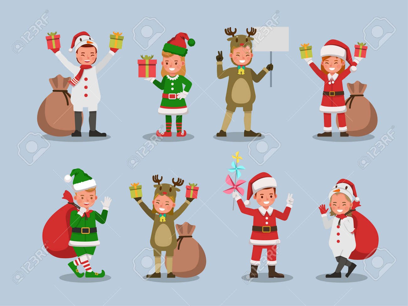 Set of kids boy and girl wearing Christmas costumes character vector design. Presentation in various action with emotions. no28 - 159765956