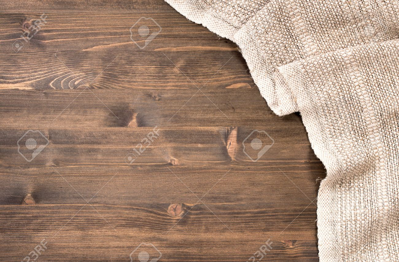 Wood table top texture - Gray Handmade Tablecloth From Right Side Wooden Table Top View Food Background Stock Photo